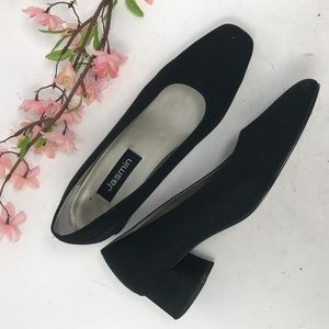 Jasmin Black Vintage Fabric Block Heel Pumps 8.5